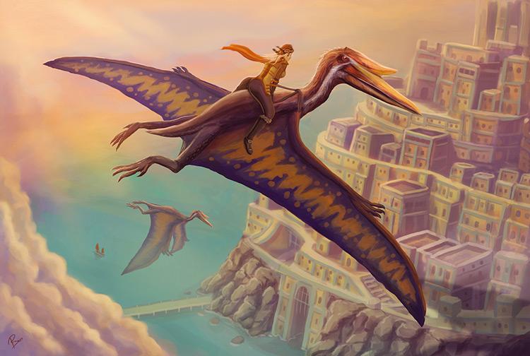 dinosaur pterodactyl creature ride woman art illustration