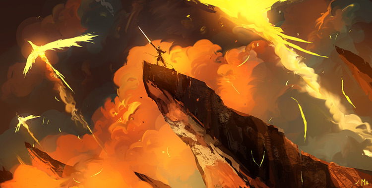 phoenix sword rock lava illustration concept art