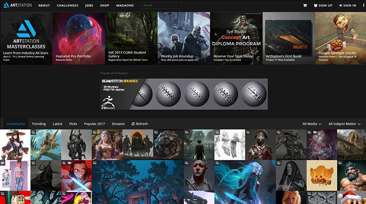 ArtStation homepage
