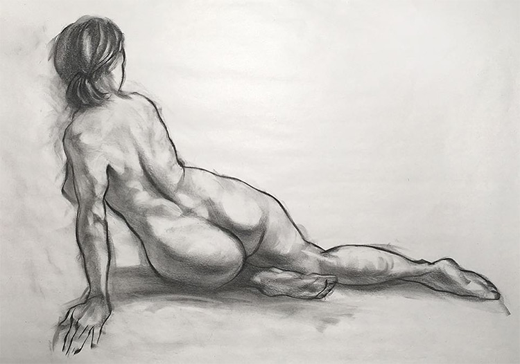Richard Smitheman figure drawing girl from behind