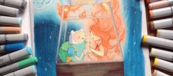 Finn & Fire Princess fanart by @jessic.art