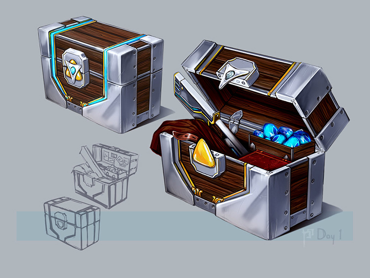 chest rpg fantasy sci-fi art concept sketch