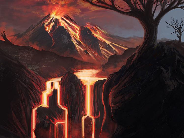 volcano eruption lava art illustration