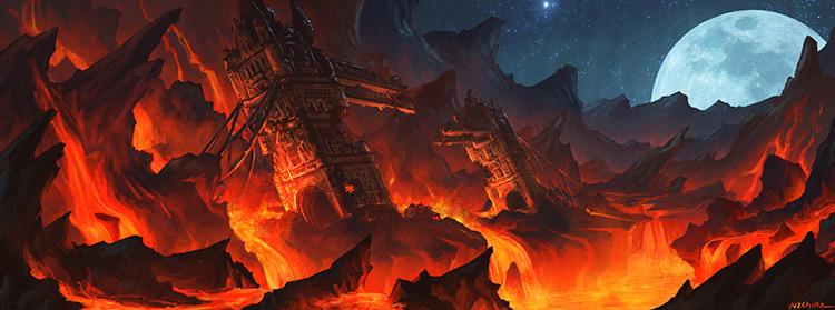 lava brige tower fire volcano concept art