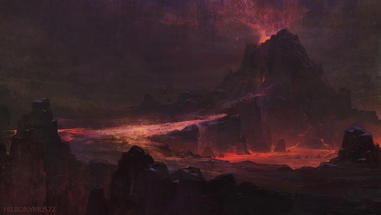 dagoth ur red mountain morrowind volcano lava art