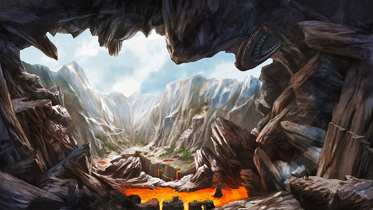 lava lake volcano alien spacecraft art