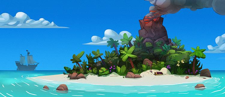 island sea volcano chest jungles art illustration