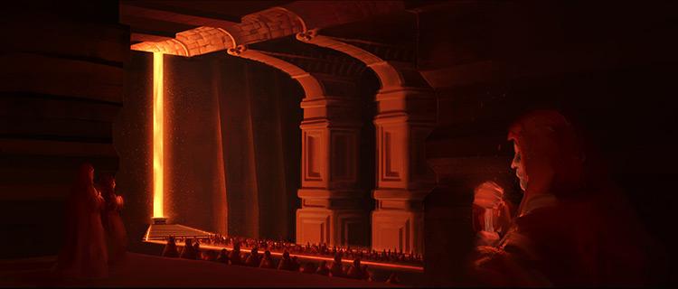 lava cult underground temple cloak art illustration