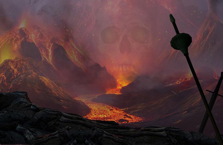 volcano lava island skull rock art concept