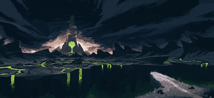 volcano lava dark ghost graveyard concept art