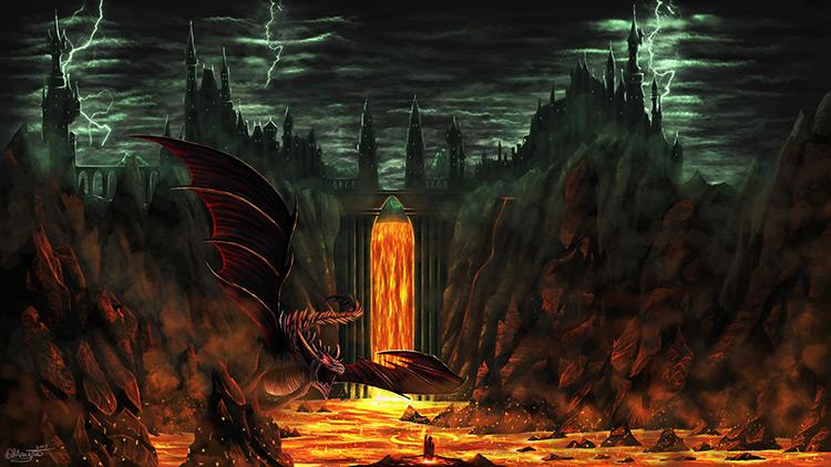 volcano lava dragon creature castle concept art