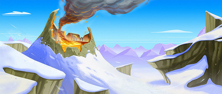 volcano lava mounts snow concept art