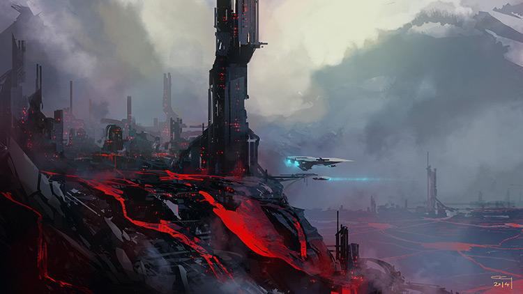 volcano lava city clouds sci-fi concept art