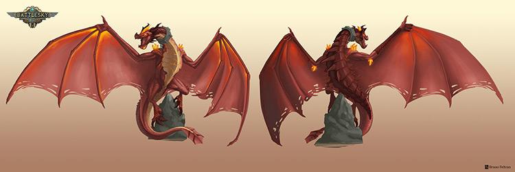 dragon character battle sky art concept
