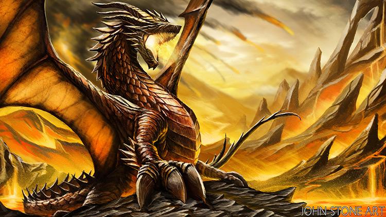dragon fire rage fantasy art