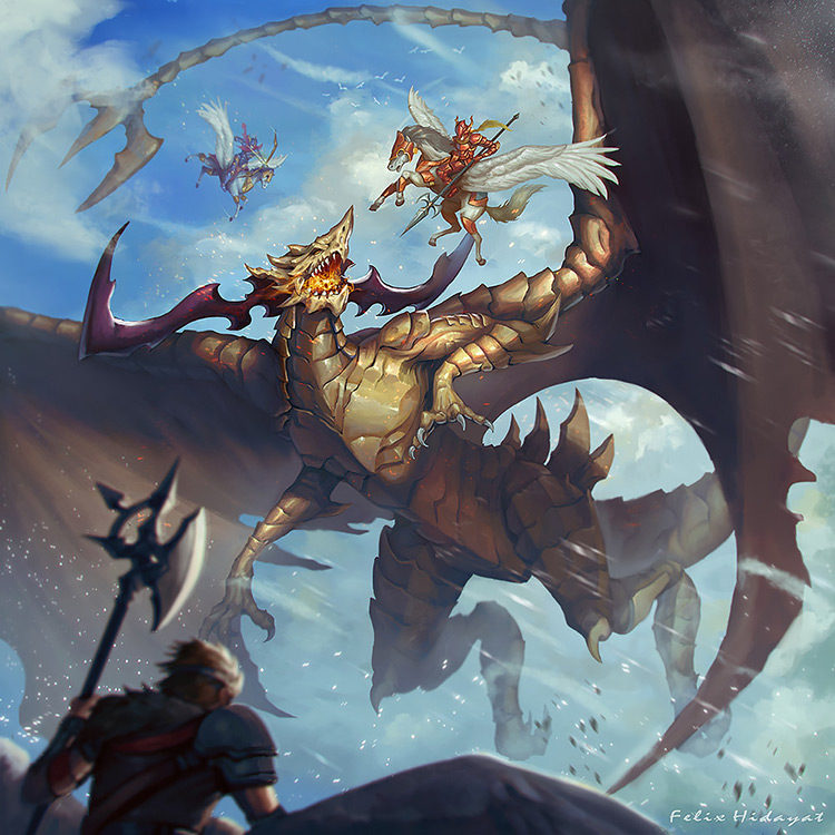 dragon hunting fantasy art illustration