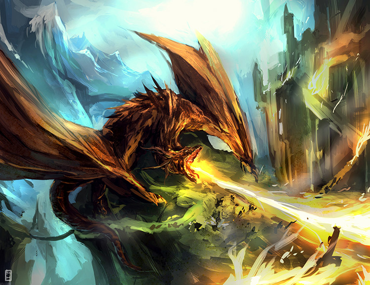 dragon creature battle angry fire concept art