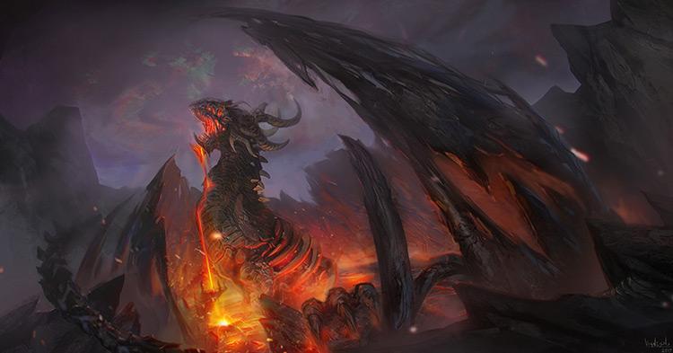 dragon monster volcano fantasy concept art