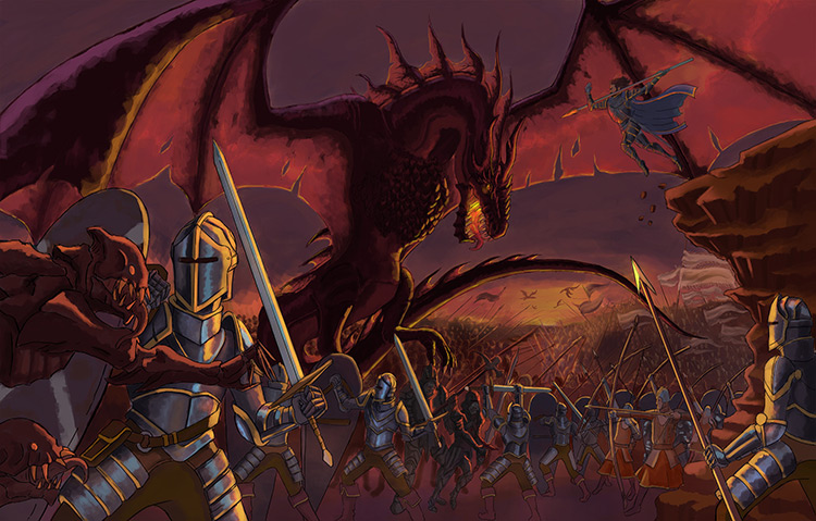 dragon monsters knight war battle fantasy art