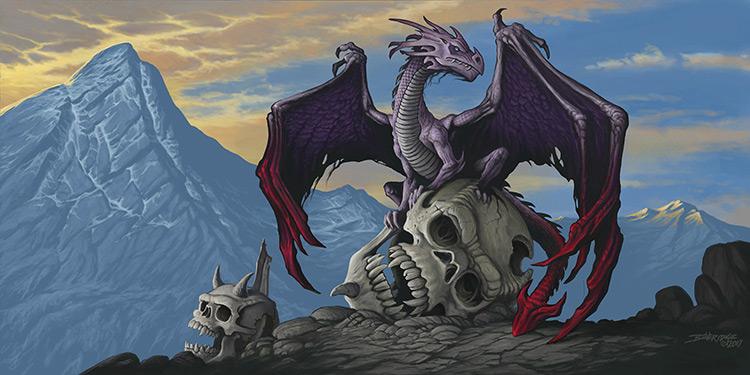 dragon skull mountains fantasy art