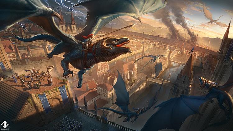 dragon mount riders battle fantasy art illustration