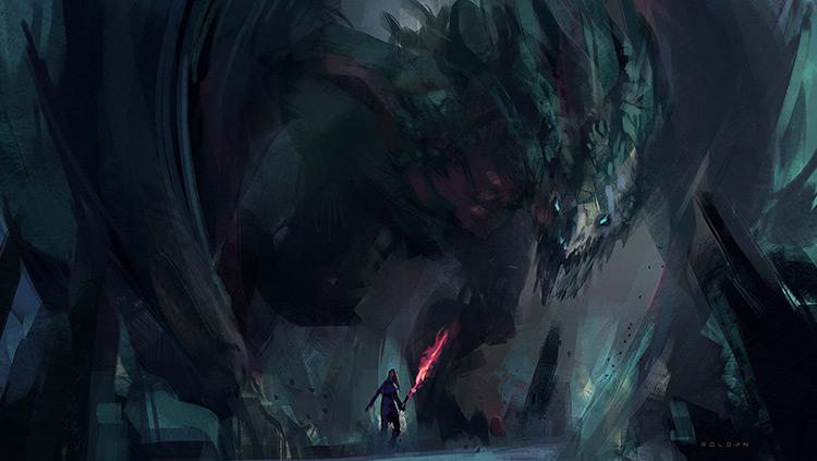 dragon cave fantasy art sketch