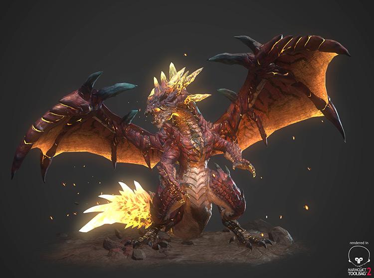 dragon creature magma fantasy art concept