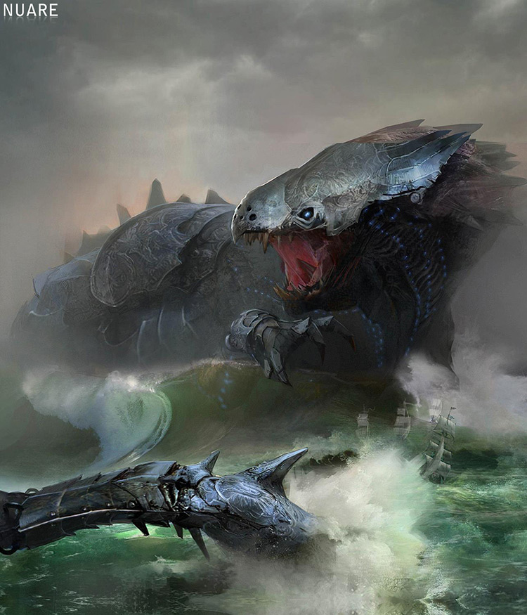 dragon iron creature dark fantasy art