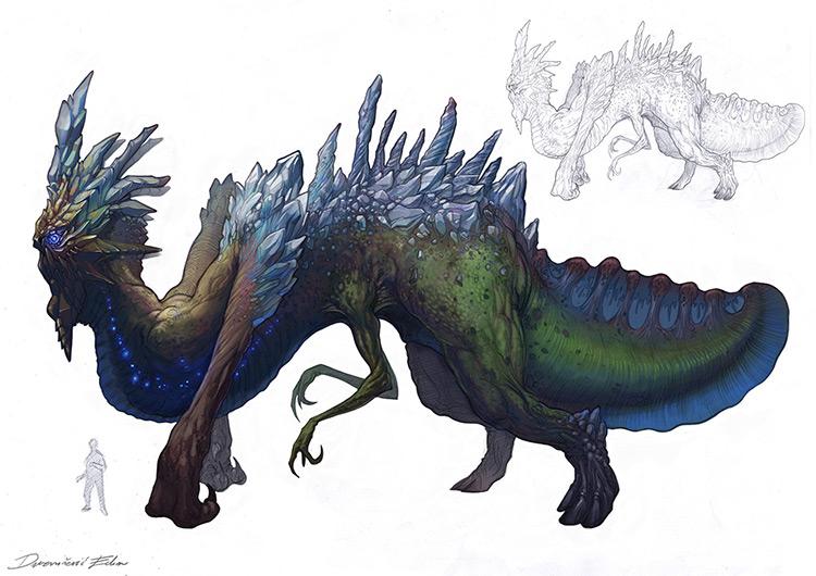 dragon creature crystals concept art