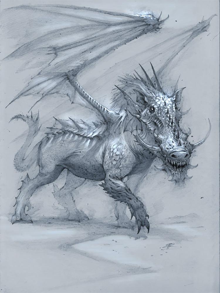 dragon creature warthog art sketch