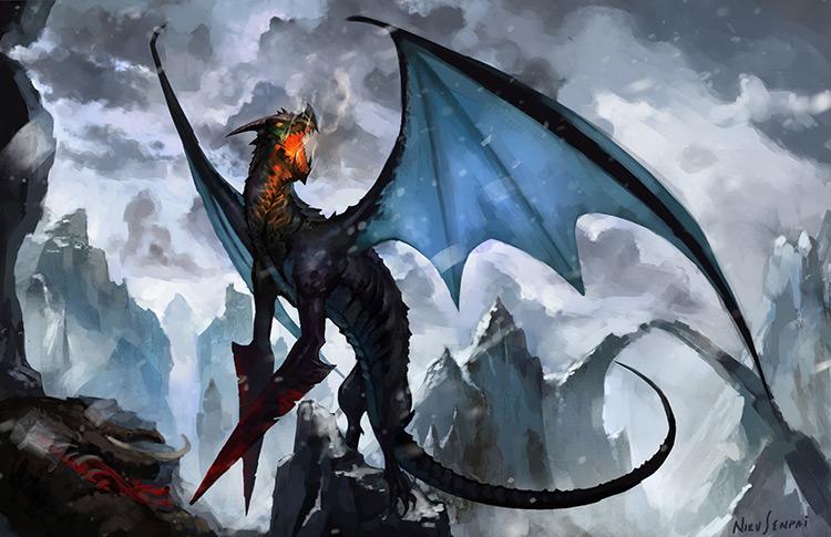 dragon creature fantasy blades art illustration