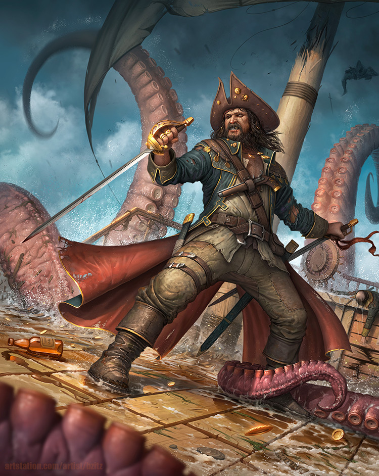 pirate tentacles octopus battle ship art illustration