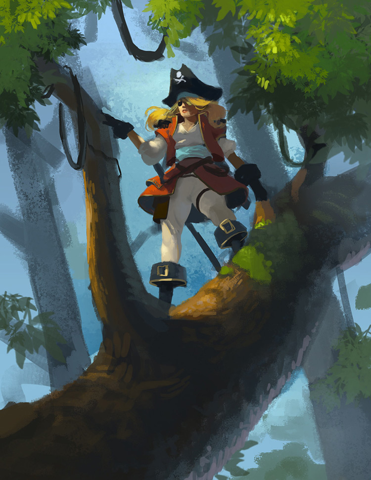 pirate female character tree art illustration concept