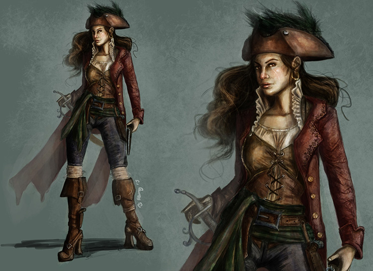 pirate female character design art illustration concept