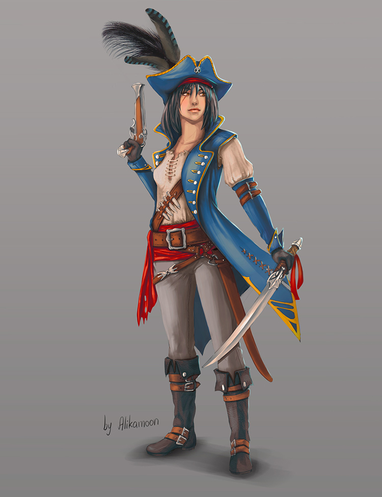 pirate captain female character concept art