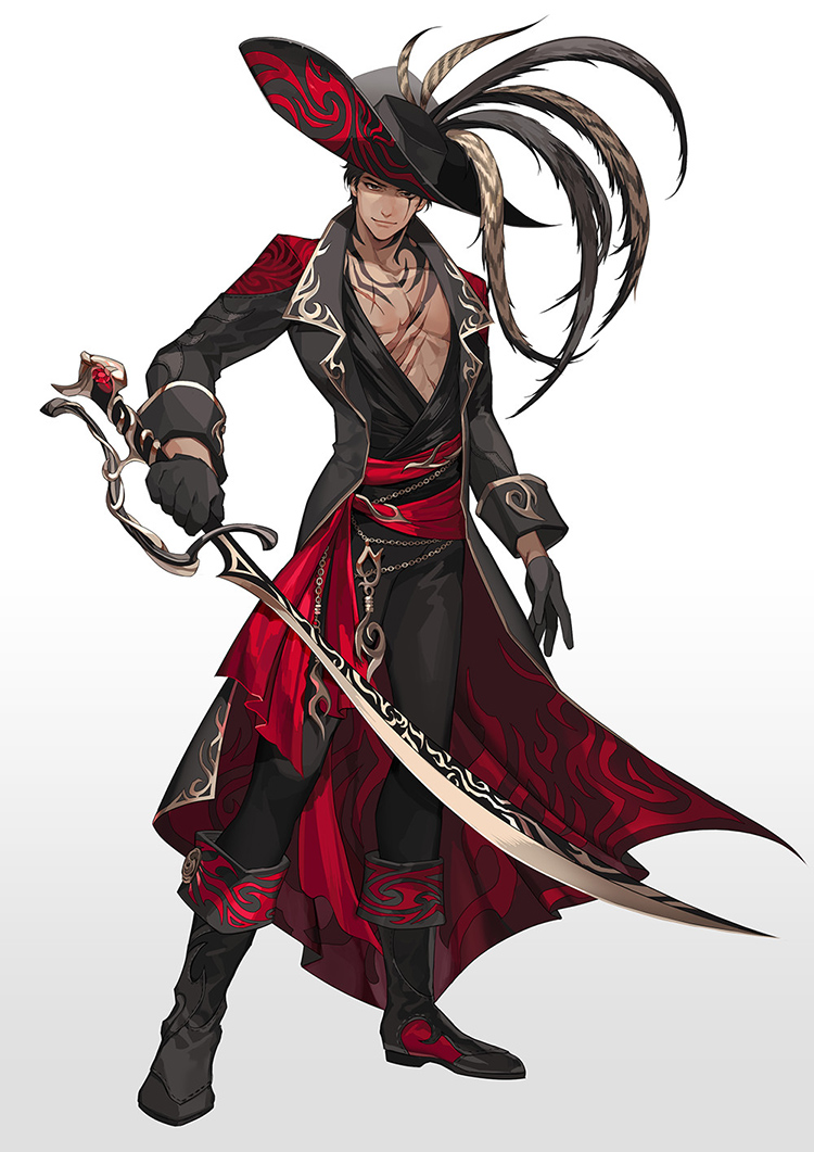 pirate sword character art illustration