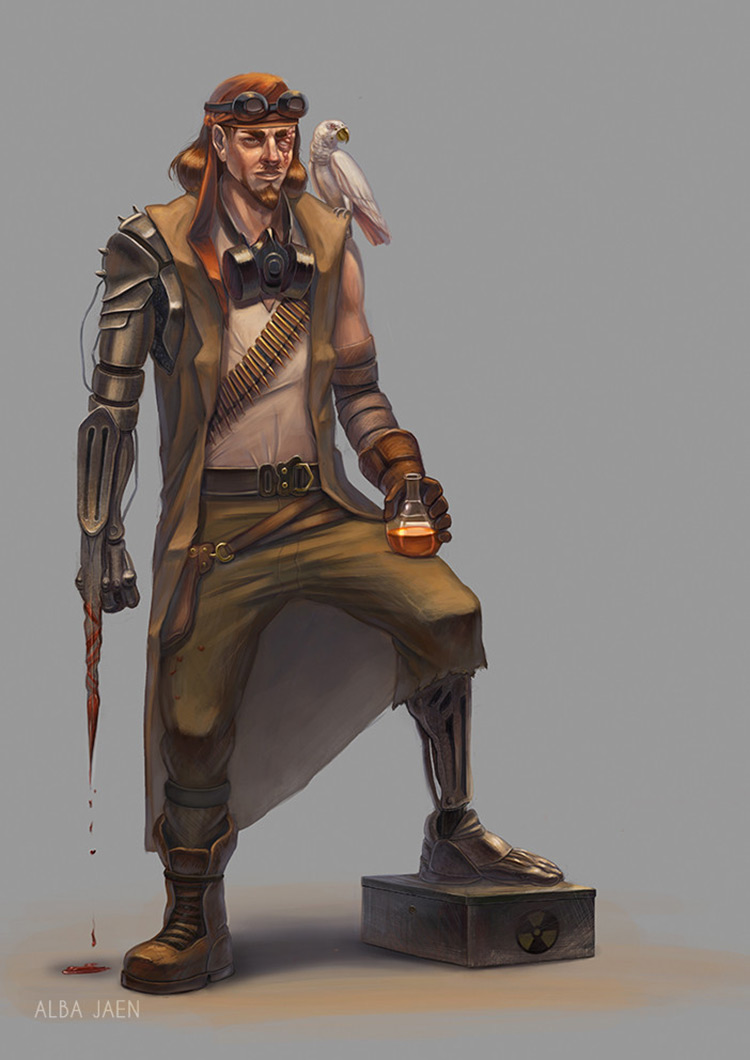 pirate dieselpunk character design art concept