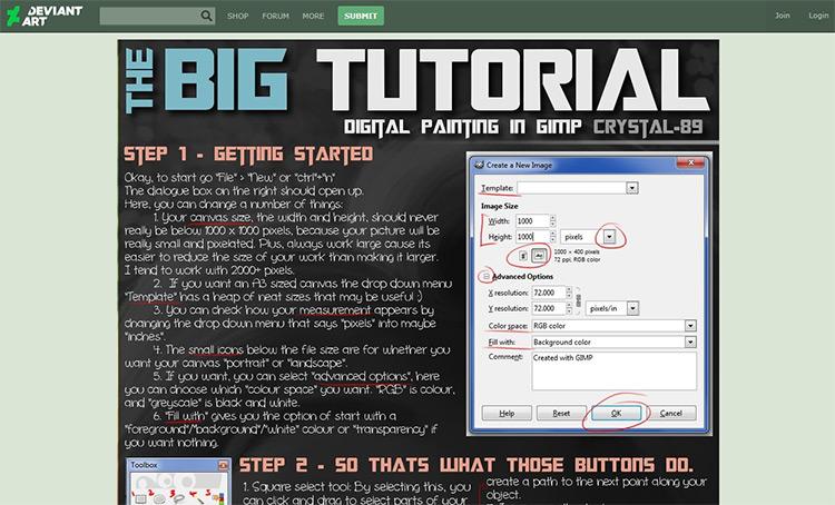 Biggest tutorial for GIMP