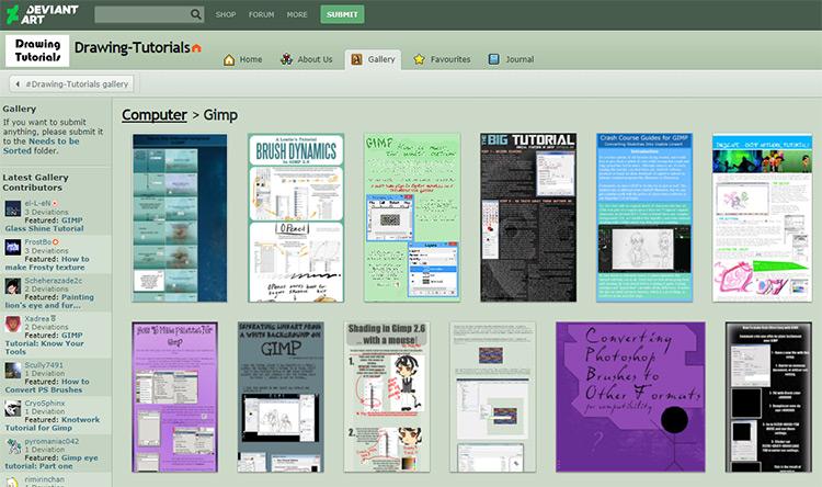 DeviantArt drawing gallery of GIMP tutorials