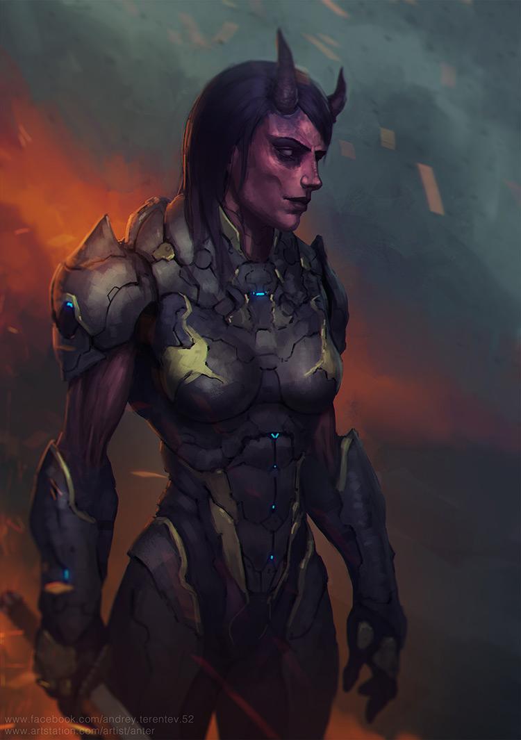 demon grim dark character art illustration