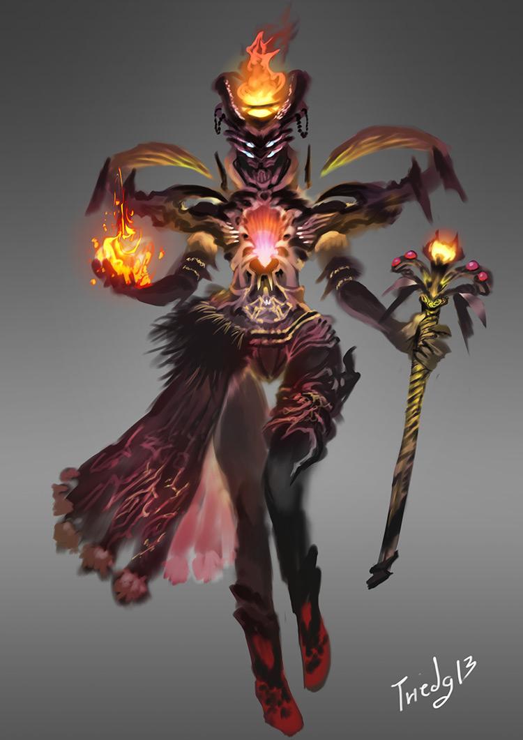demon flame character design art concept