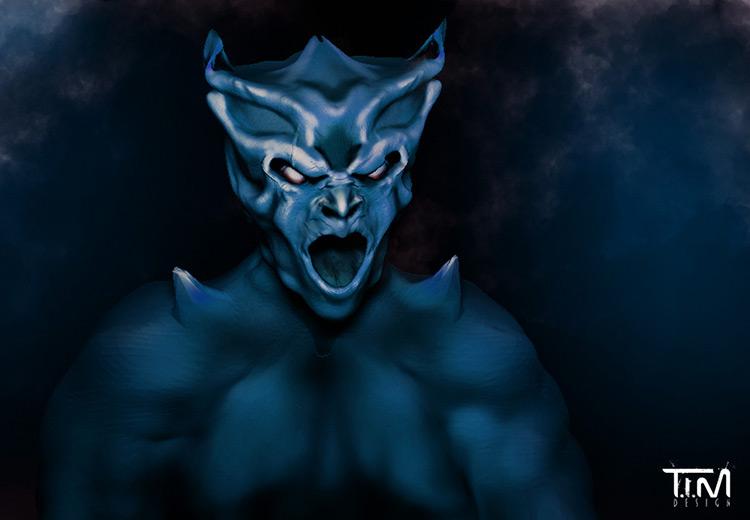 demon blue creature character design concept art