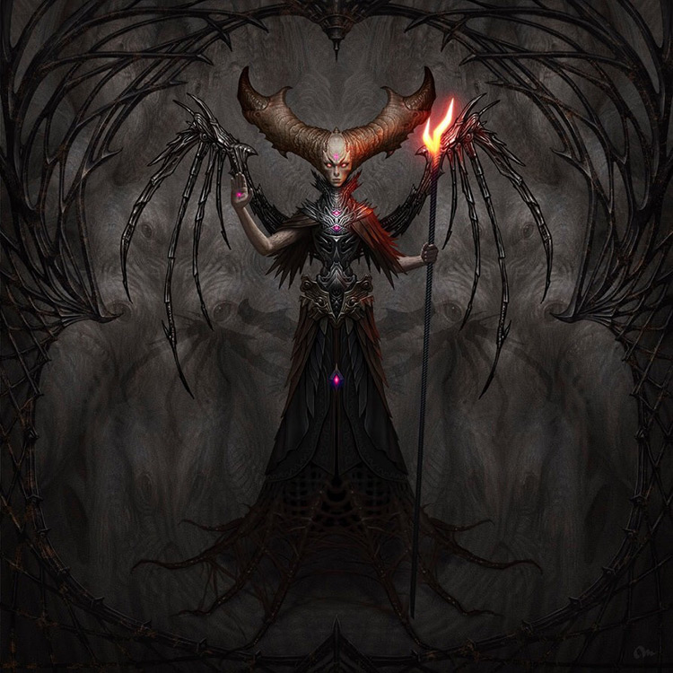 demon dark creepy creature bone wings art