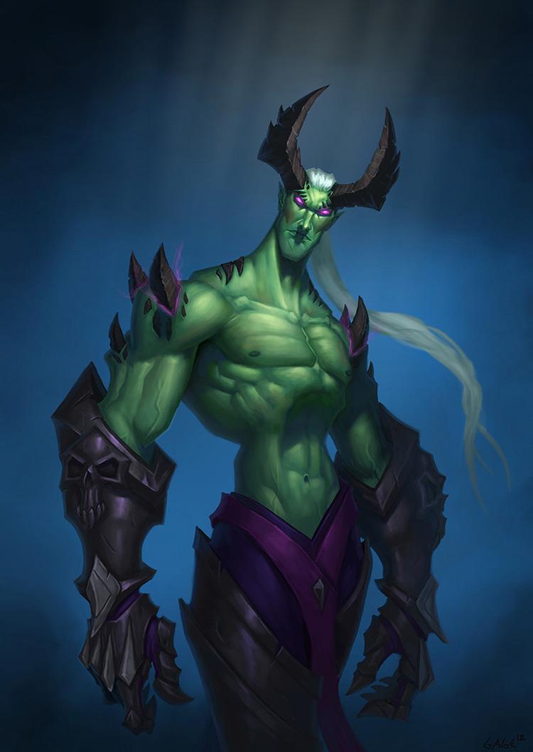 demon green horns character sketch illustration