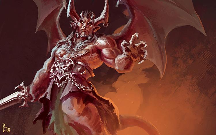 demon red creature horns wings character sketch art