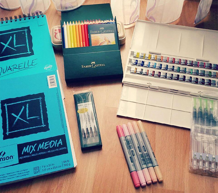 Collection of art supplies