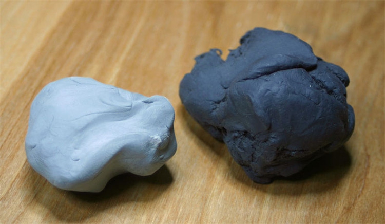 Kneaded erasers; left is new, right is used