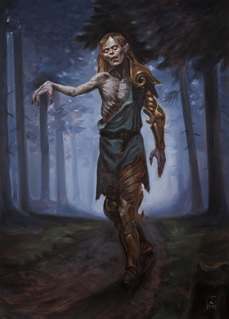zombie macabre elf character forest concept art