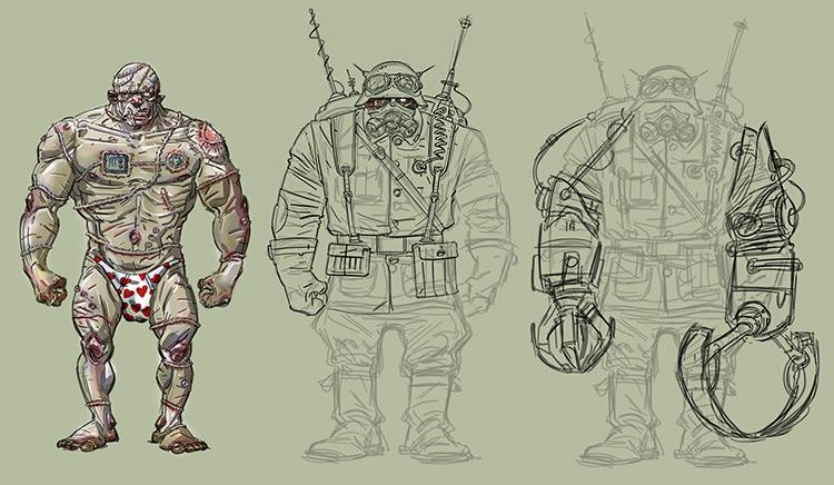 zombie soldier character design sketch concept art