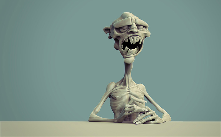 zombie creature sculpting illustration art
